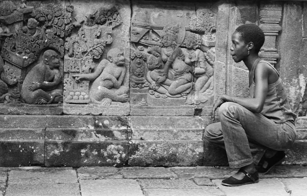 Photo - Merle inspecting some ancient carved stonework